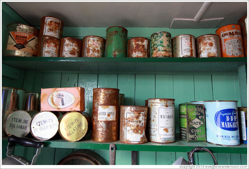 Old cans of food, kitchen, Port Lockroy.