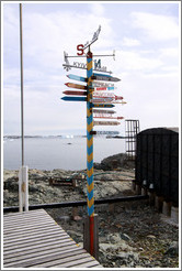 Sign displaying distances to various cities and places, Vernadsky Station.