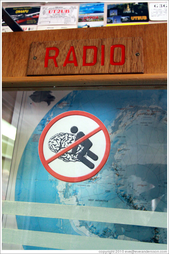 Door to the Radio room, with a mysterious sign on it, Vernadsky Station.