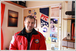 Electrician and tour guide, Sasha, in his office, Vernadsky Station.