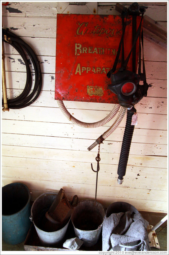 Breathing apparatus, Wordie House, a British scientific research station dating from 1947.