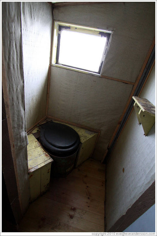 Toilet, Wordie House, a British scientific research station dating from 1947.