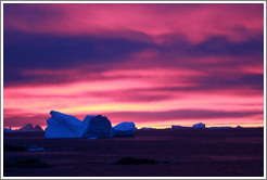 Sunset and icebergs.