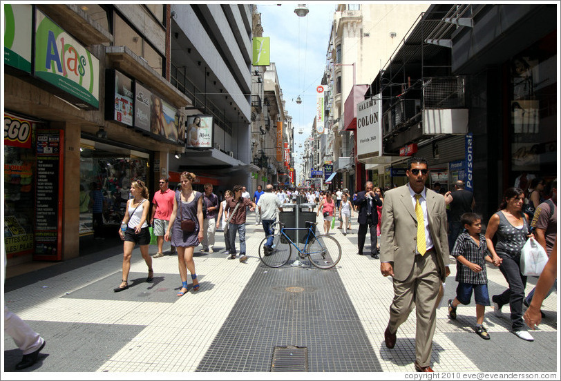 Calle Florida, a pedestrian street, with white and black tiles along its length, Centro district.