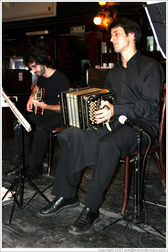 Bandoneon player at a milonga at the Confitería Ideal.