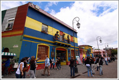 Centro de Exposiciones Caminito, with figures of Diego Maradona, Evita and Carlos Gardel on its facade. La Boca.
