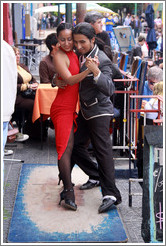 Tango performers making full use of their small dance floor. Dr. del Valle Iberlucea, La Boca.
