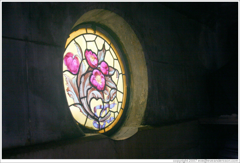 Stained glass window in mausoleum at La Recoleta Cemetery.