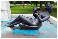 Woman with swan, fountain detail, Plaza Urquiza, Recoleta district.