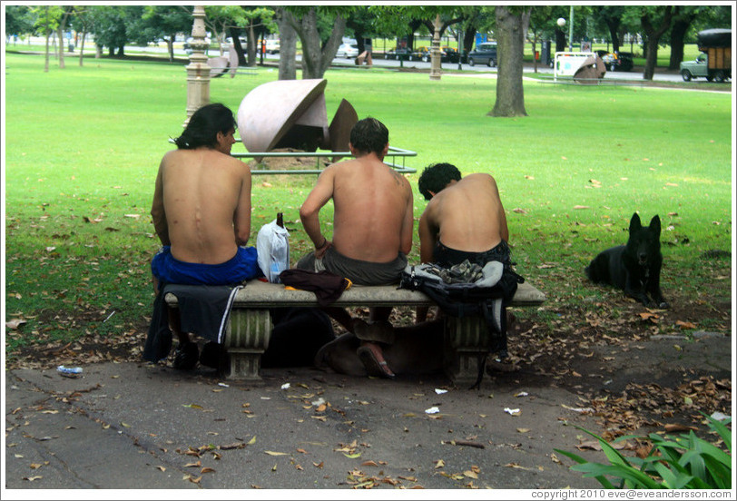 Three shirtless men, a dog, and a bottle of alcohol.  Plaza Urquiza, Recoleta district.