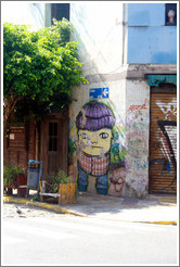 Graffiti (boy with purple hair), Calle Chile and Calle Bol?r, San Telmo district.