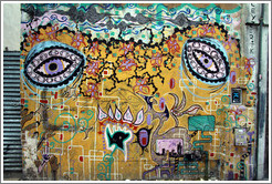 Graffiti depicting eyes, among other things. Avenida Independencia near Calle Tacuar�. San Telmo.