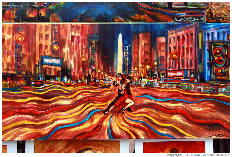 Artwork depicting a tango dancers on Avenida 9 de Julio, with the obelisco in the background.  Sunday market, Calle Humberto Primo, San Telmo.