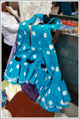 Blue tango dress with white spots. Sunday market, Calle Humberto Primo, San Telmo.
