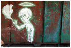 Graffiti (man with halo and flames), Plaza Dorrego, San Telmo district.