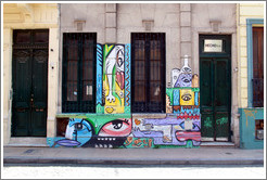 Graffiti (eyes, lips, and other body parts), Pasaje San Lorenzo, San Telmo district.