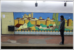 Man in front of a mural, Diagonal Norte station, Subte (Buenos Aires subway).