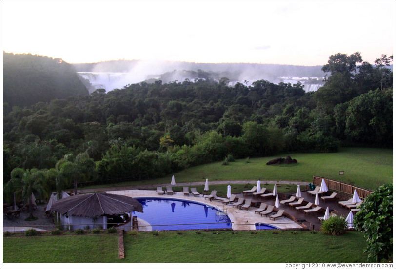 Sheraton Hotel pool, with Iguazu Falls behind.