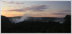 Iguazu Falls at dusk, viewed from the Sheraton Hotel.