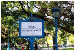 Plaza Independencia sign, city of Mendoza.