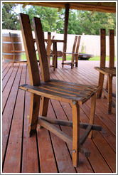 Chairs made from barrels, Kaiken Winery, Luj�n de Cujo.