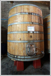 "Large barrel labeled ""Organic Wine"", Domaine Jean Bousquet, Valle de Uco."