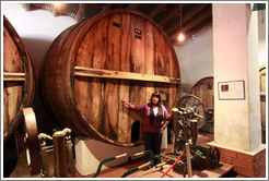 Guide and large barrel. Museum of Bodega La Banda.