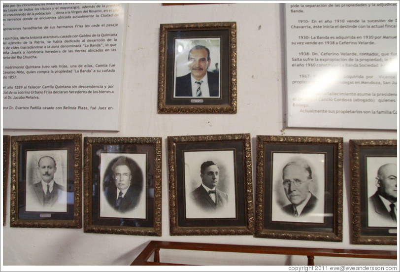 Portraits of historic owners of Bodega La Banda.