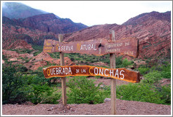 Sign. Quebrada de las Conchas.