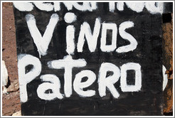 Vinos Patero (foot-pressed wine) sign. Quebrada de las Conchas.