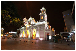 Catedral Bas?ca de Salta at night.