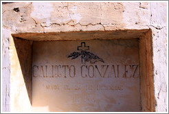 Headstone for Calixto Gonzalez, who passed away December 24, 1905, in a small miners' cemetery near La Polvorilla viaduct.