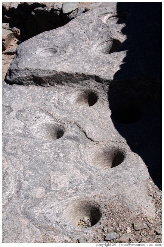 Rock with water holes. Pre-Inca ruins of Quilmes.