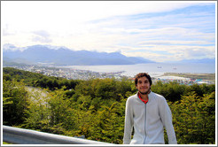 Ushuaia, viewed from Ruta Nacional No 3, with unknown Argentinian man in the foreground.