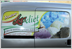 "Advertisement for the ""New Gadget Diet"", painted on a vehicle's windows."