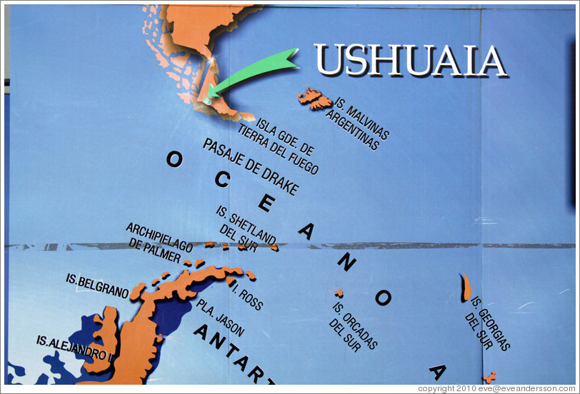 Map Displaying The Islas Malvinas Argentinas Photo ID Ushuaia - Argentina map ushuaia