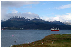 Ship and mountains, Bah�a de Ushuaia, viewed from the Aeroclub Ushuaia.