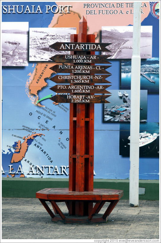 Sign showing distances from Antarctica.