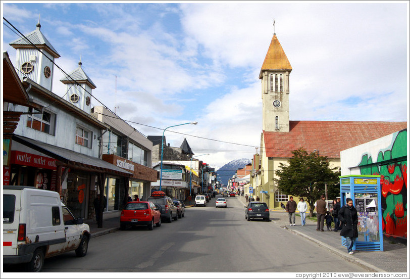 San Martin, the major street of Ushuaia.