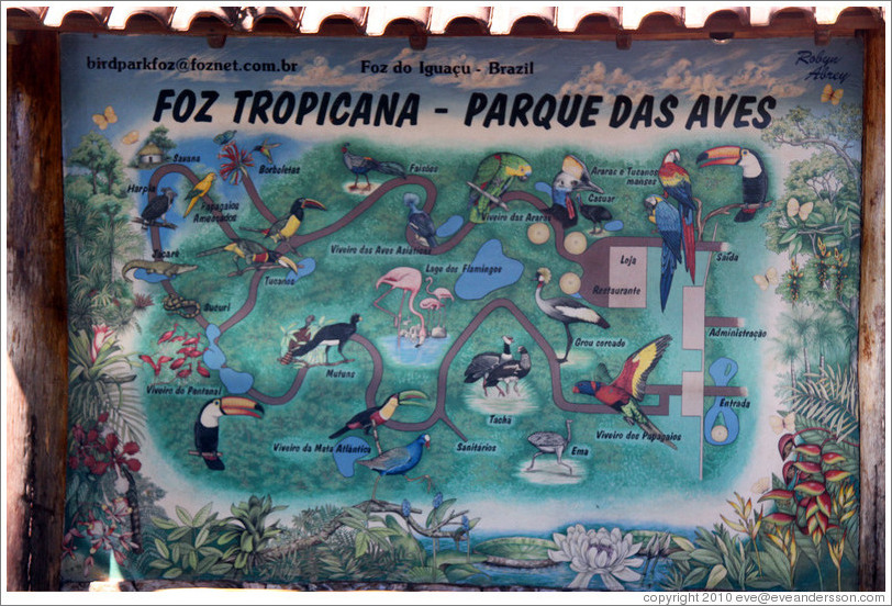 Map, Foz Tropicana Bird Park.