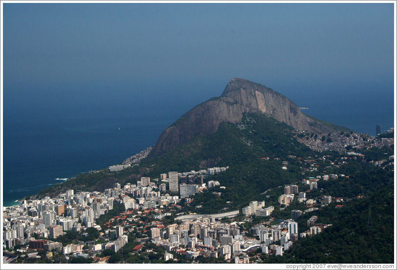 View of Leblon and Dois Irmãos Hills  from the top of Corcovado Mountain.