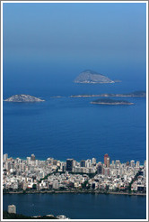 Ipanema and islands viewed from the top of Corcovado Mountain.