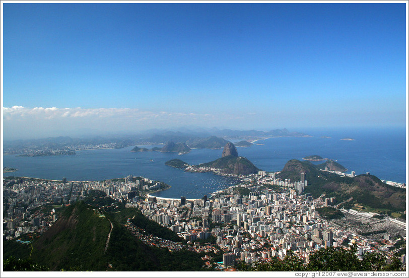 View of Pão de Açúcar (Sugarloaf Mountain) and surrounding city from the top of Corcovado Mountain.