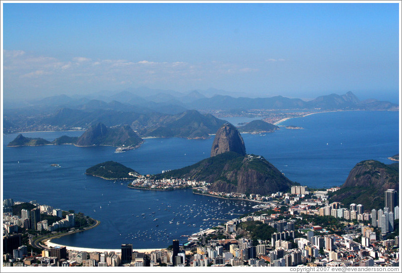 View of Pão de Açúcar (Sugarloaf Mountain) from the top of Corcovado Mountain.