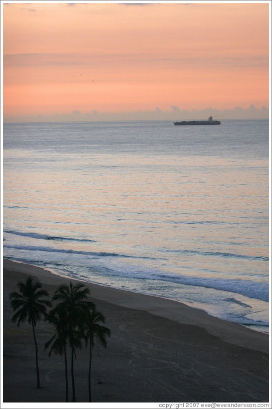 Ipanema Beach at sunrise.  Palm trees and boat.
