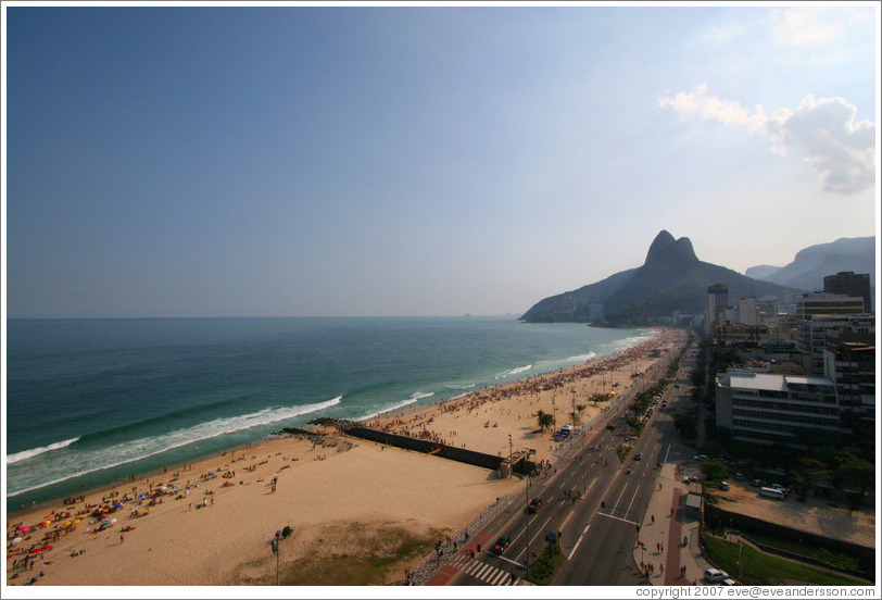 Ipanema and Leblon beaches, with Dois Irmãos at the far end.