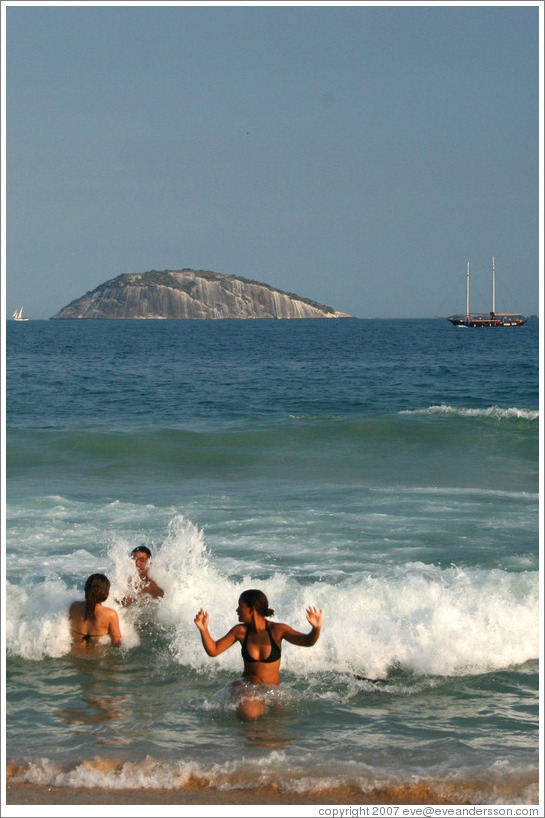 Swimmers at Ipanema Beach.