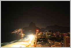 Leblon and Dois Irmãos at night.