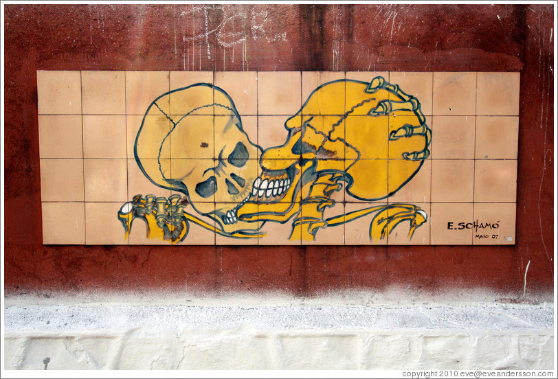 Artwork: two skeletons either fighting or about to kiss.  E. Scham?ay 2007.  Wall surrounding the Cemit?o S?Paulo.