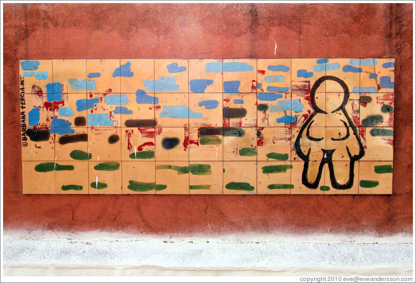 Artwork: woman with no clothes or hair.  Wall surrounding the Cemit?o S?Paulo.